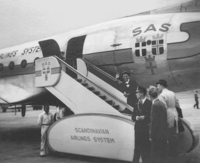 DC4 på vej til Brasilien fra Bromma lufthavnen i Stockholm i 1946