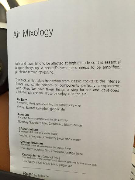 """SAS kalder deres egenudviklede serie af cocktails for """"Air Mixology"""""""