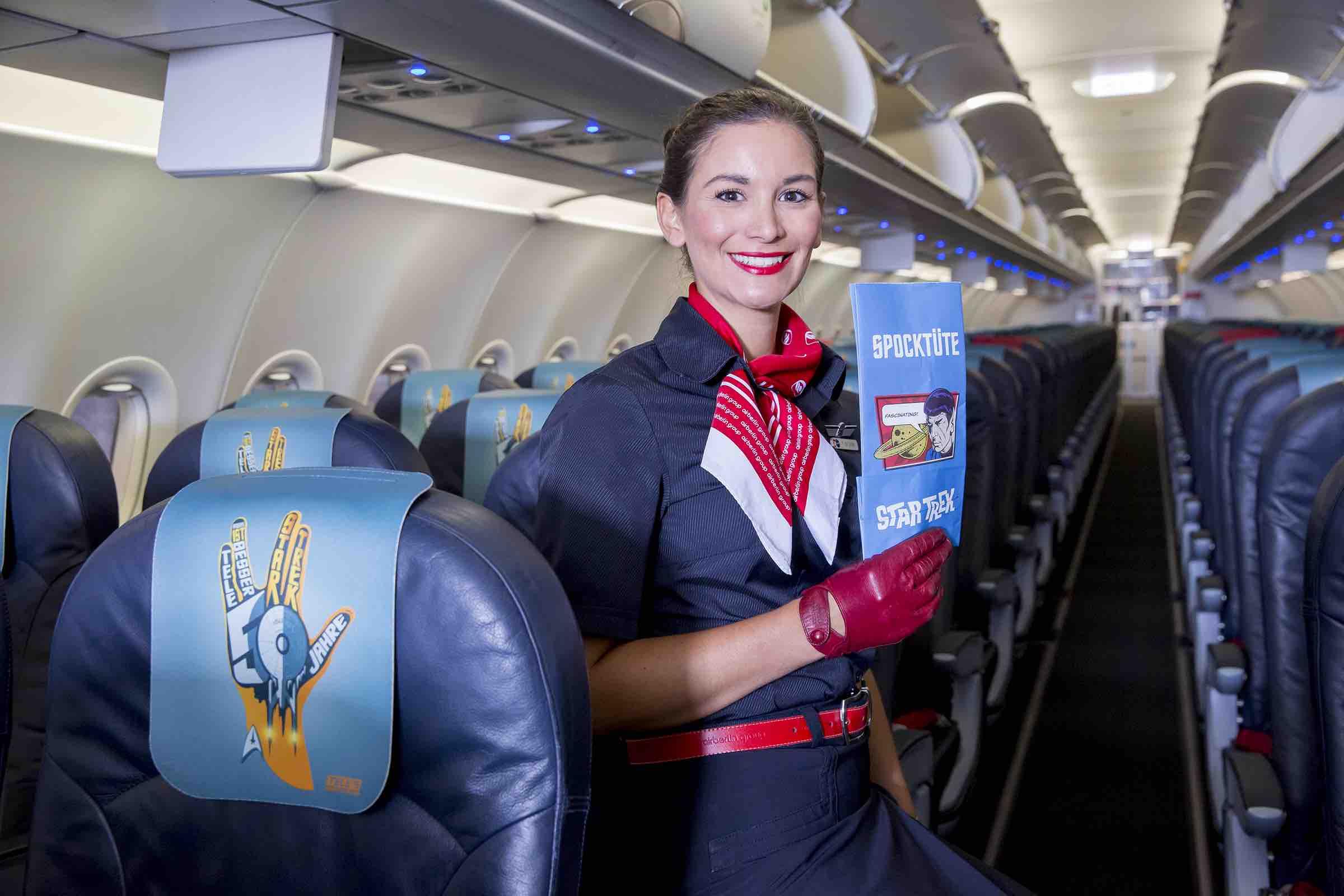 """De 100.000 """"Spock Bags"""" som kun findes på dette fly bliver helt sikkert et stort samlerobjekt. Foto: AirBerlin"""