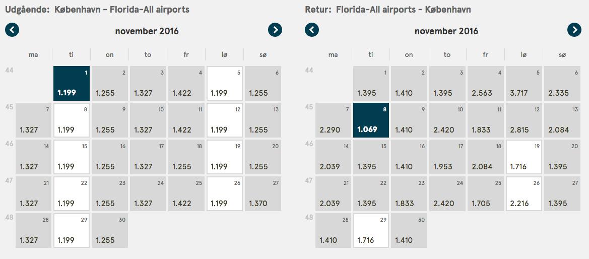 Eksempel på superbillige flybilletter til Florida.