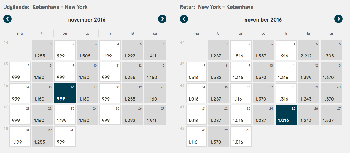 Eksempel på de billige flybilletter til New York med Norwegian.