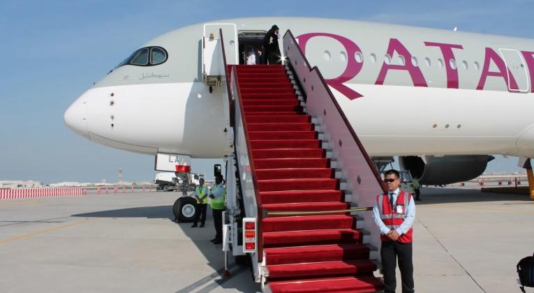 Qatar Airways var launchkunde for Airbus A350. De fik første fly leveret i januar 2015. Her et billede fra festlighederne i Doha. Foto: Flemming Poulsen