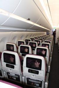 Økonomiklasse ombord på Qatar Airways A350. Foto: Flemming Poulsen