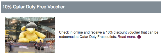 Check in online med Qatar Airways og få 10% rabat på taxfree indkøb i Doha