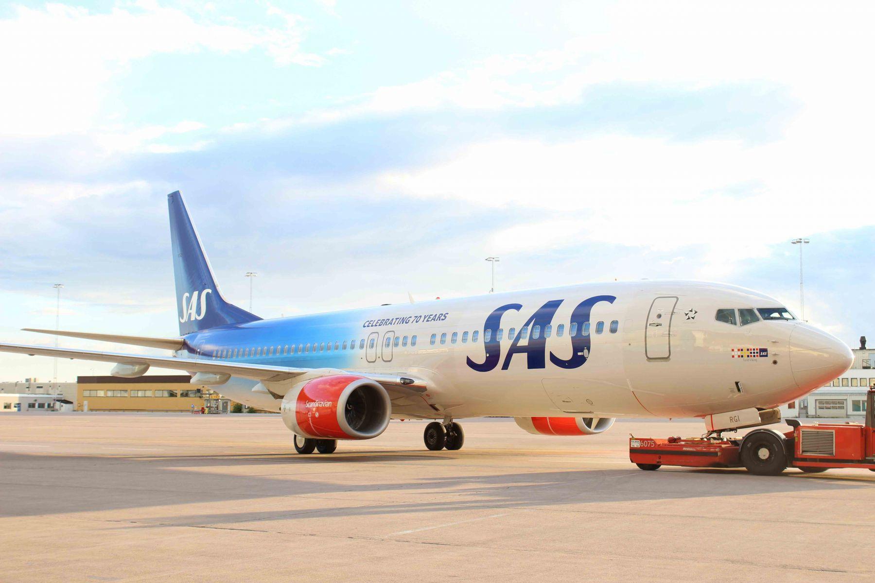 SAS har specialmalet et fly i forbindelse med deres 70 års jubilæum i år.