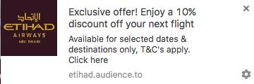 Du kan få 10% ekstra rabat, hvis du tilmelder dig automatiske meddelelser fra Etihad.