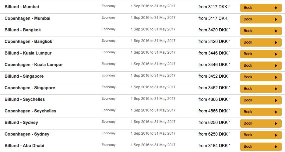 Eksempler på startpriser på Econoy Class.