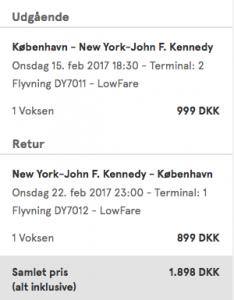 Priseksempel på returrejse fra København til New York med Norwegian.