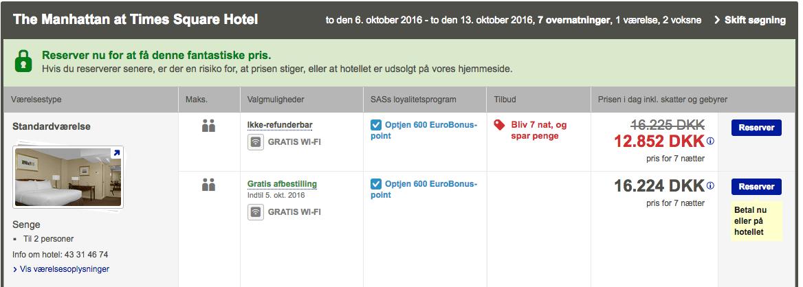 Prisen for et udvalgt hotel på SAS hjemmesiden.