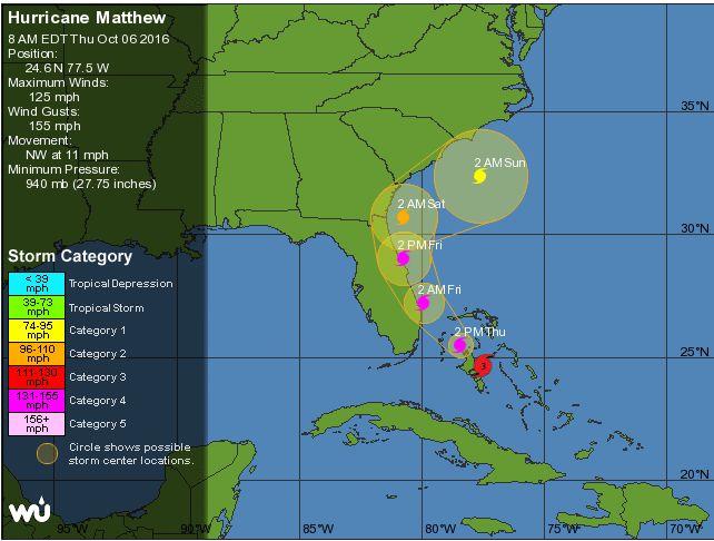 Orkanen Matthew nærmer sig Florida. Screenshot: wunderground.com