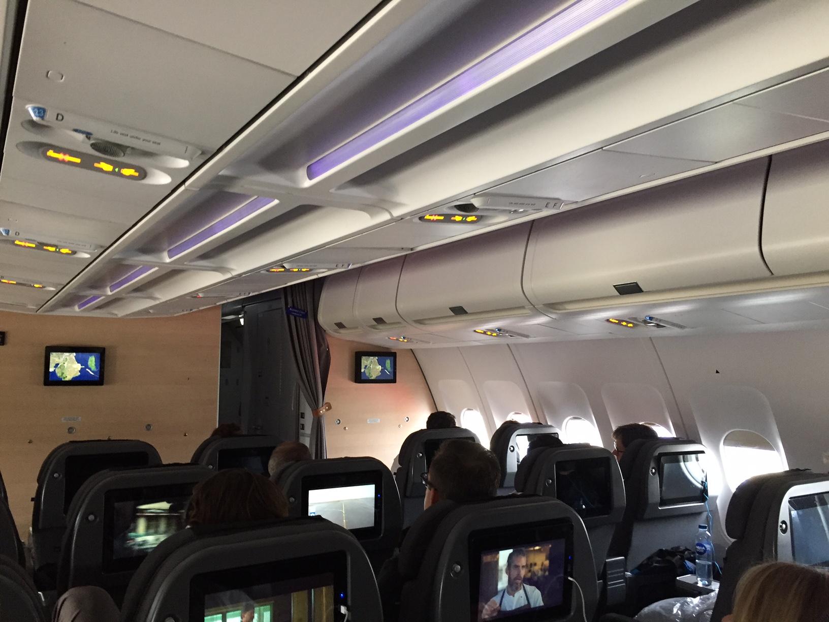 Sådan ser SAS Plus kabinen ud. En ganske behagelig oplevelse.