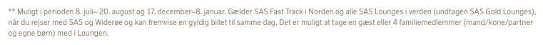 SAS opdaterede information om lounge og Fast Track for sølvmedlemmer i EurtoBonus