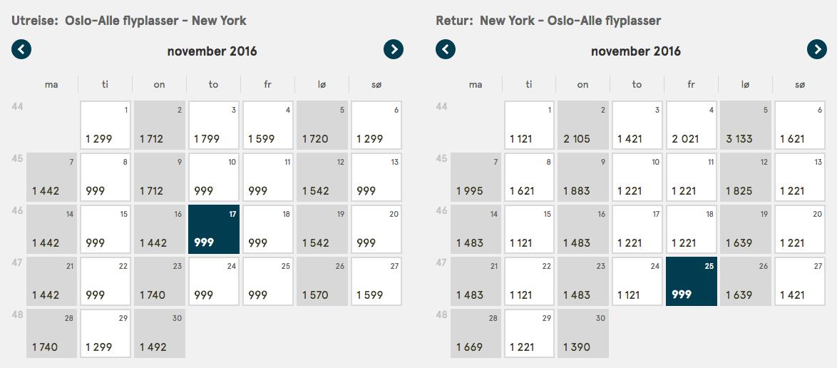 Eksempel på rejse til New York for kr 1 998,- t/r