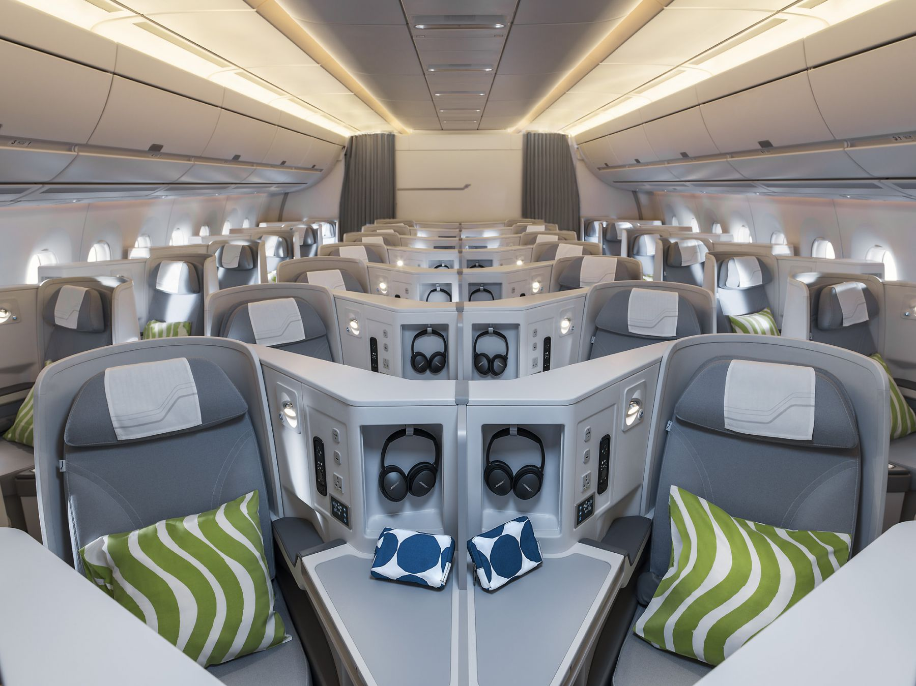 Finnair A350 business class cabin, general view warm