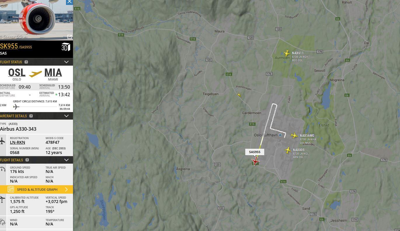 Bilde: Utsnitt fra Flightradar24.com