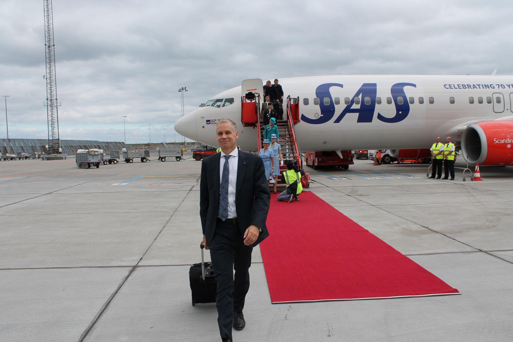 SAS-chef, Rickard Gustafson var med på jubilæumsflyet