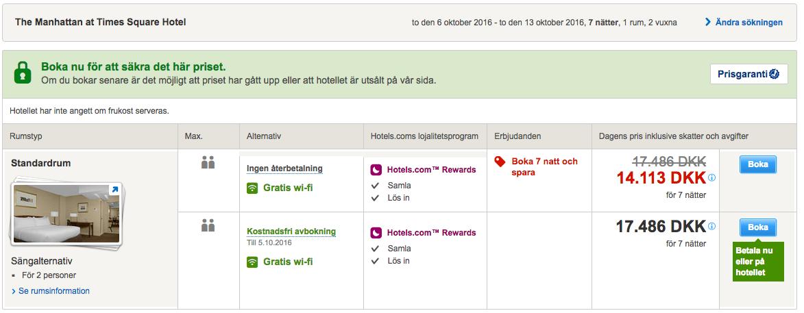 Samme hotel, samme periode - bokket på Hotels.com