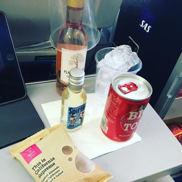 Predinner and dinner drink on SAS economy class