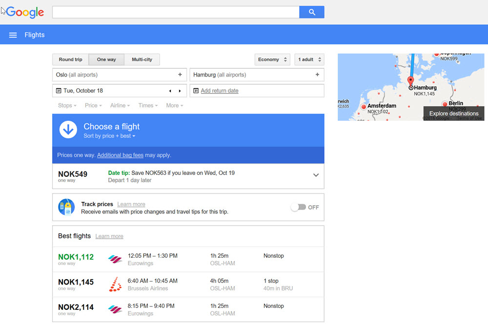 Google Flights Figur 1