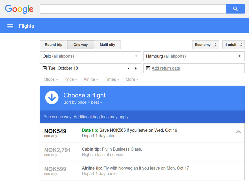 Google Flights Figur 2